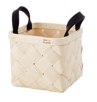 Lastu Birch Basket Small, grey felt handles