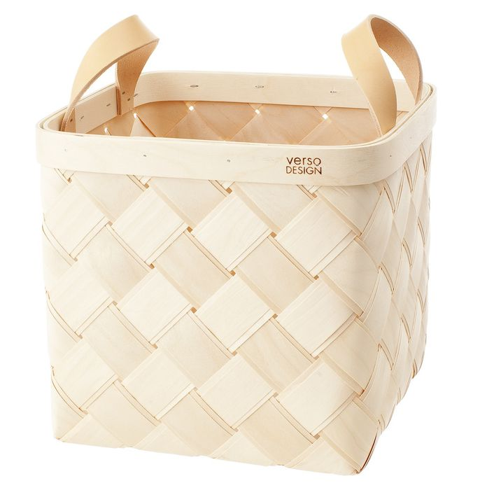 Lastu Birch Basket Medium, leather handles