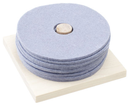 RINKI Coasters, blue-grey (8 pcs) + wood base