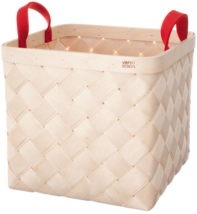 LASTU Birch Basket L, red felt handles