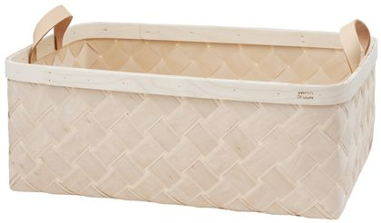 LASTU Rectangle Basket XL, leather handles