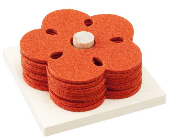 KUKKA Coasters, rosehip orange (8 pcs) + wood base