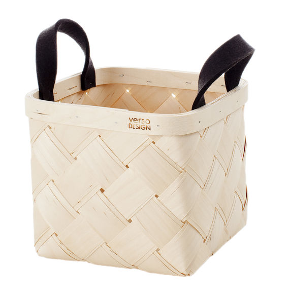 LASTU Birch Basket S, grey felt handles